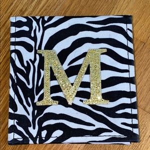 Note Pad- Gold glitter Letter M
